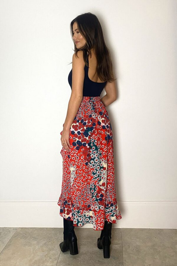 Red floral skirt available to buy online