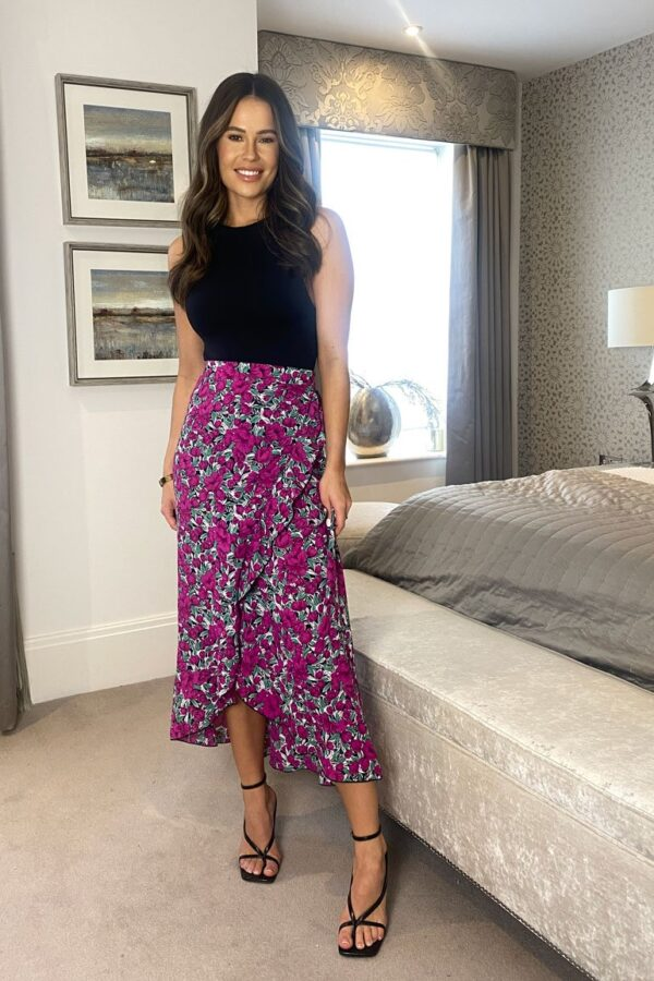 Purple floral skirt available to buy online