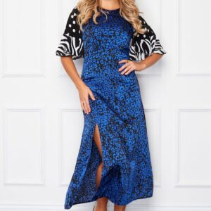 Blue animal print dress available to buy online