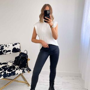 Black leather look jeans available to buy online